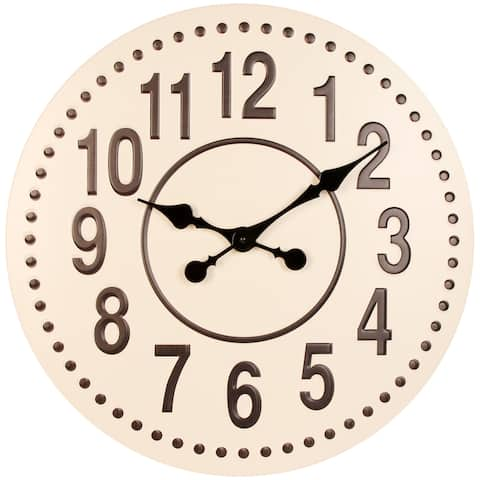 Gunmetal 20 inch Large Decorative Metal Farmhouse Wall Clock