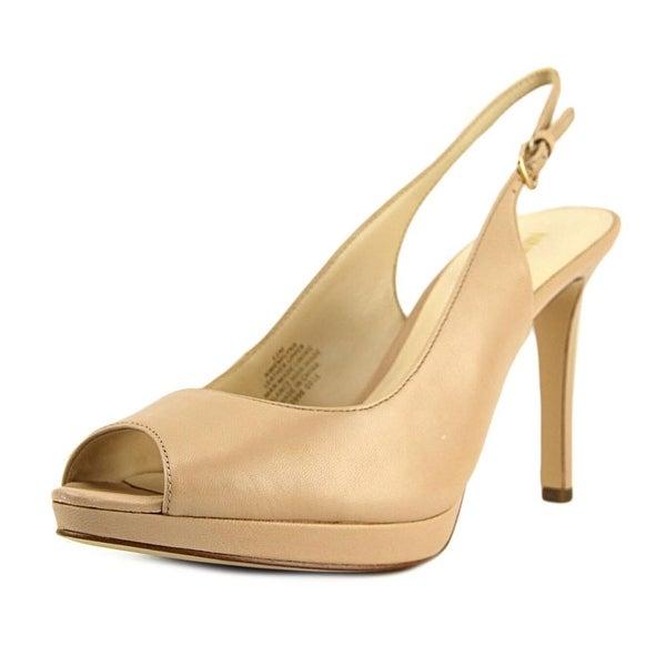 Nine West Emilyna Peep-Toe Leather Slingback Heel