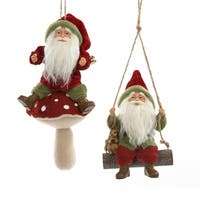 "Set of 4 Assorted Storybook Garden Santa Claus Gnomes on Mushroom and Swing Christmas Ornaments10"" - RED"