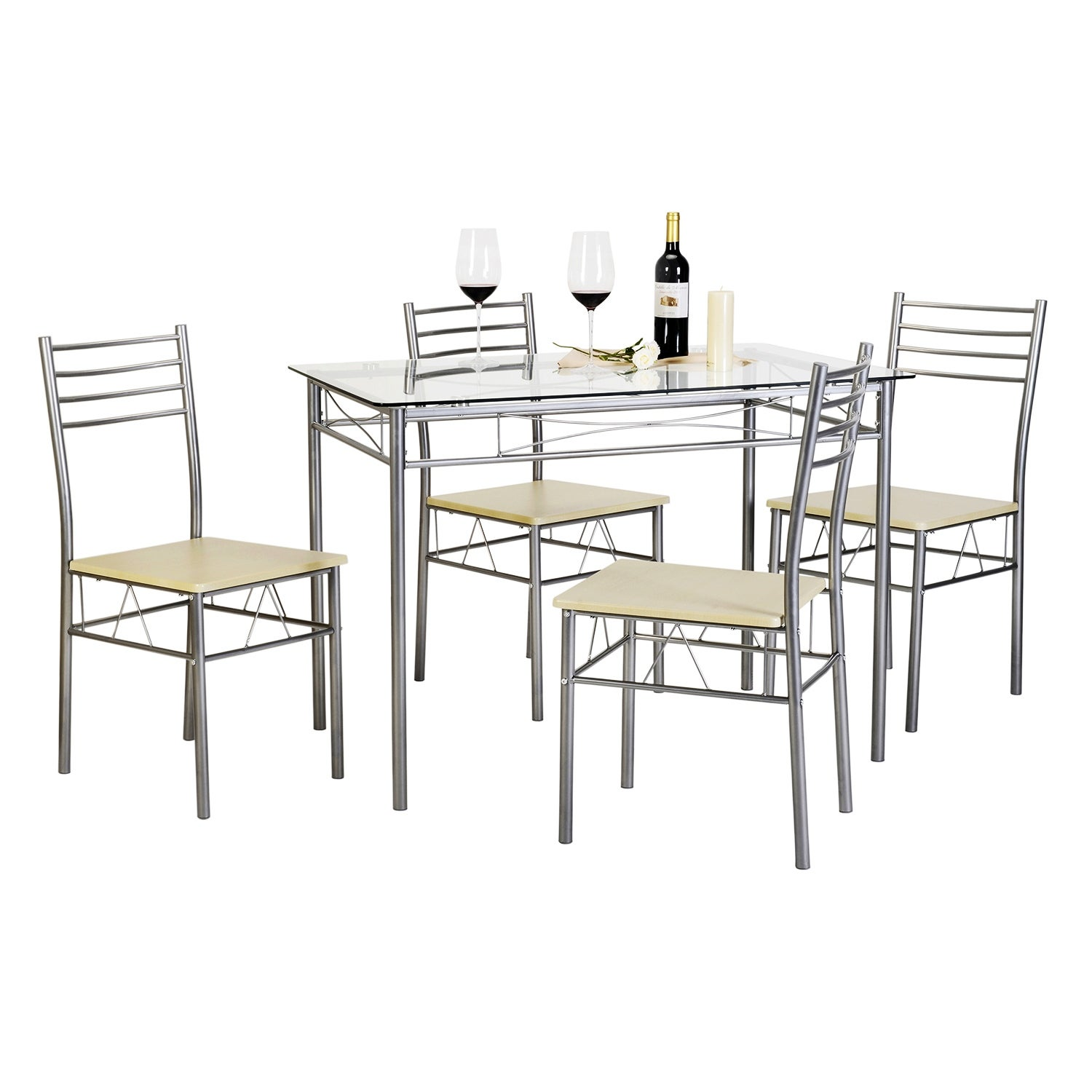 silver dining table.  Silver Dining Room Bar Furniture For Less Overstock com