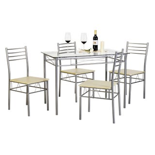 Kitchen Dining Table Set,Glass Table and 4 Chairs(Black/Silver) (Option: Silver)