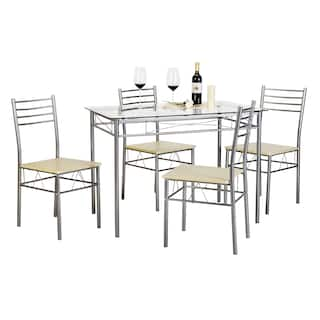 silver dining table. Kitchen Dining Table Set Glass and 4 Chairs Black Silver  Room Bar Furniture For Less Overstock com