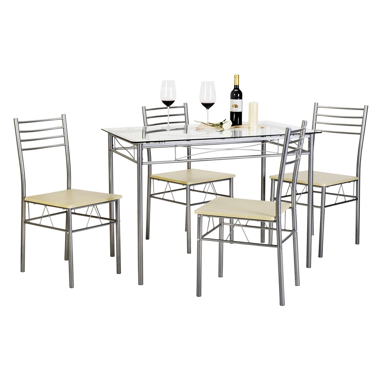 Kitchen Dining Table Set,Glass Table And 4 Chairs(Black/Silver) (