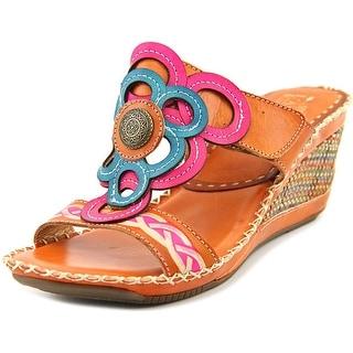 Spring Step Fulvia Women Open Toe Leather Multi Color Wedge Heel