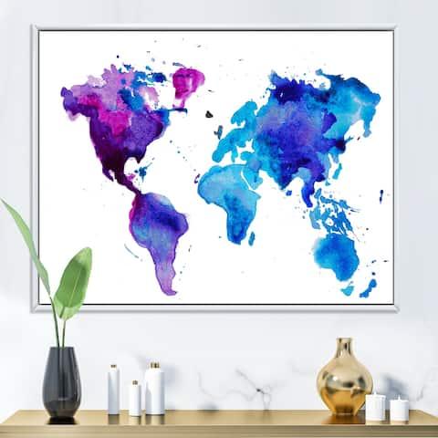 Designart 'Purple and Blue Map of The World' Modern Framed Canvas Wall Art Print