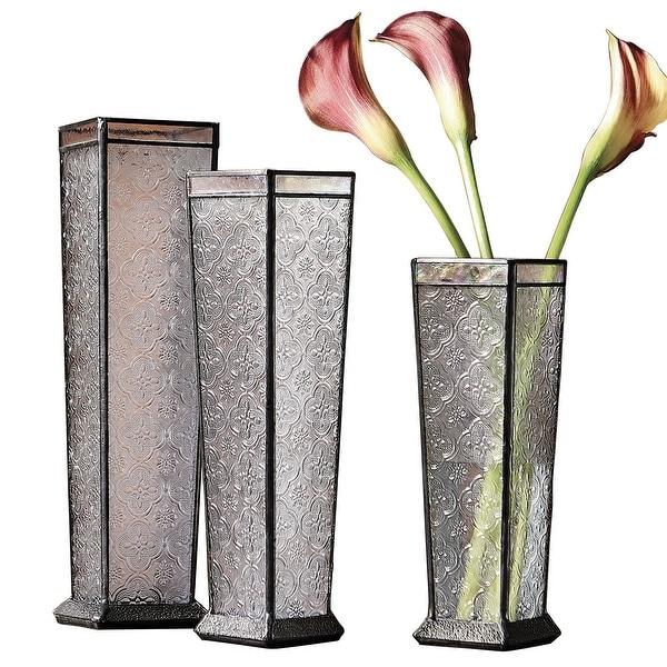 225 & J Devlin Glass Art Glass Flower Vase Trio - Patterned Soldered Glass Vases 3-Piece Set - 13.5\