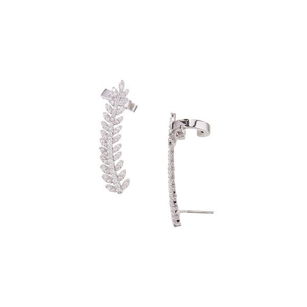 925 Sterling Silver Leaf Ear Climbers with Cubic Zirconia