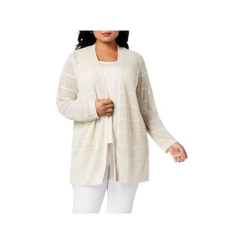 Calvin Klein Womens Plus Cardigan Sweater Metallic Stripe