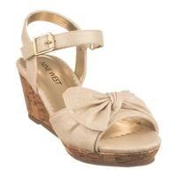 Nine West Kids Girls' Nathaliah Wedge Sandal Gold Metallic Linen
