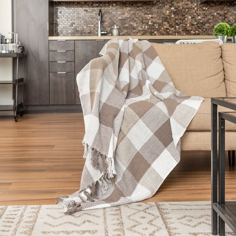 Fabstyles Herringbone Check Cotton Throw Blanket With Fringes