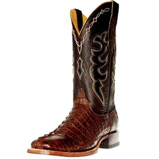 Cinch Western Boots Mens Hornback Caiman Tail Leather Mahogany CFM564