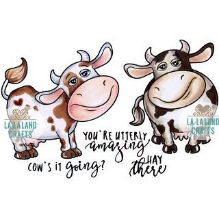 """La-La Land Cling Stamps 4.5""""X3.5""""-Cow's It Going"""