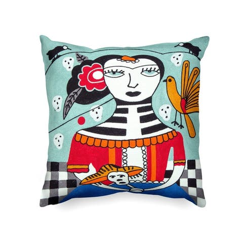 Handmade Picasso Inspired Heavy Embroidered Pillow Case Only - Made of Cotton