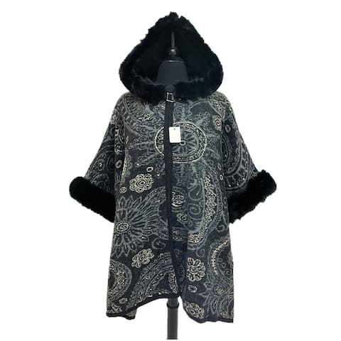 Oussum Vintage Paisley Hoodie Coat For Halloween Party Cloak With Hood Faux Fur Sleeves Poncho Cape Hooks