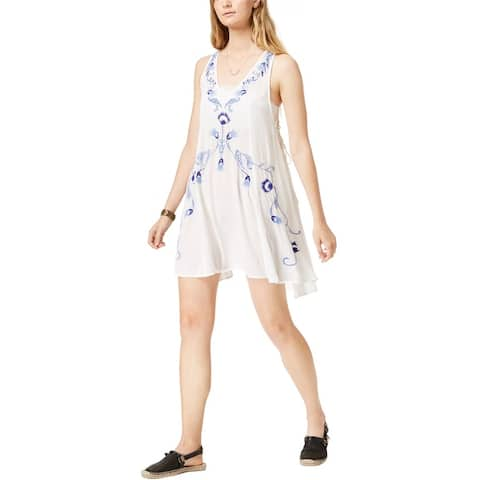 Free People Womens Embroidered Mini Dress