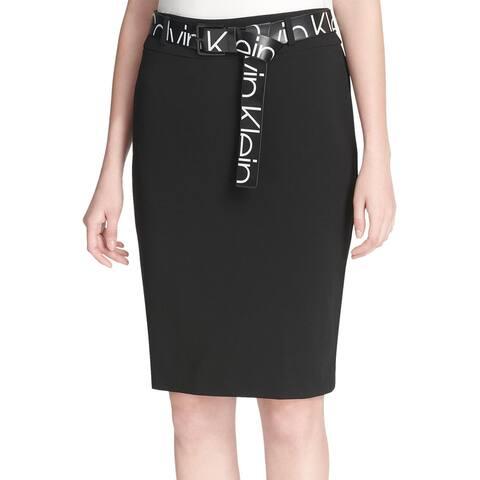 Calvin Klein Womens Logo Print Belt Skirt 12 Rich Black