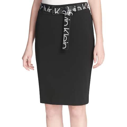 Calvin Klein Womens Logo Print Belt Skirt 4 Rich Black