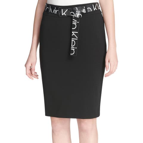 Calvin Klein Womens Logo Print Belt Skirt 8 Rich Black