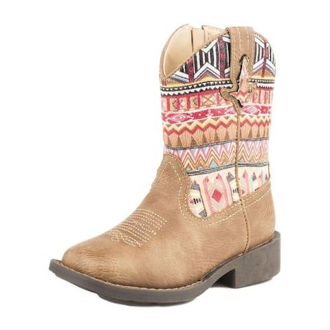 Roper Western Boots Girls Azteka Inside Zipper Tan