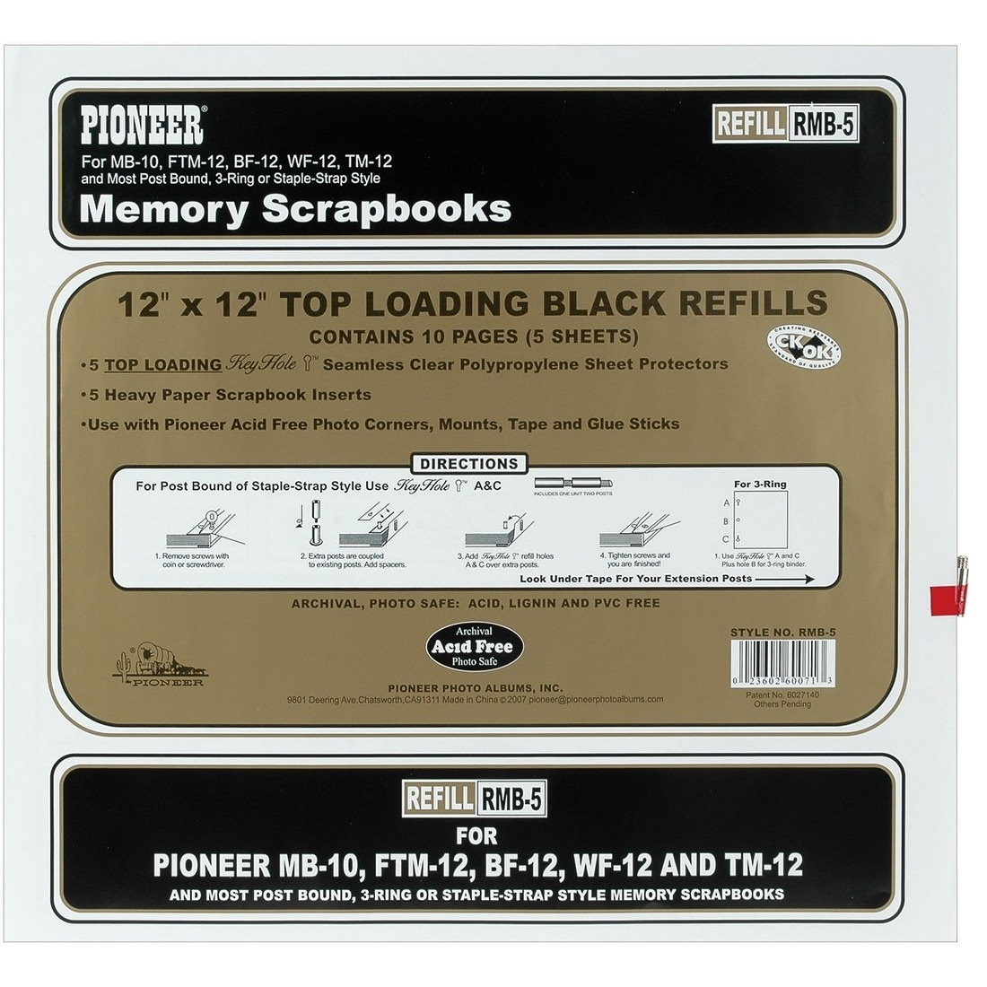 "Pioneer  Universal Top-Loading Page Protectors 5//Pkg-12/""X15/"" W//Black Inserts"