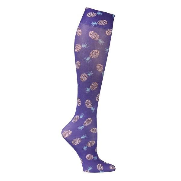 Celeste Stein Women's Mild Compression Knee High Stockings - Golden Pineapples - Medium