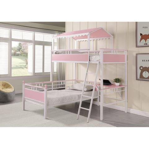 Alexia Pink and White Twin over Twin Workstation Bunk Bed
