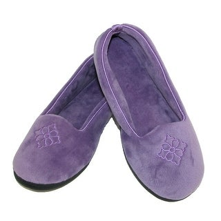 Dearfoams Women's Microfiber Velour Closed Back Slippers