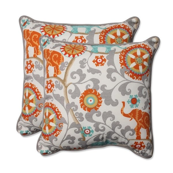 Set of 2 Orange and Gray Elephant Dreams Rectangular Outdoor Corded Throw Pillows 18.5""