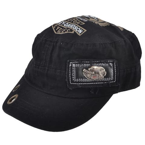 Black Adjustable Press Stud Eagle Circle Detail Fishing Sun Visor Hat