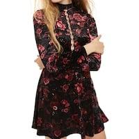 TopShop Black Womens Size 8 Floral Velvet Lace Back Sheath Dress
