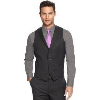 Alfani Slim Fit Lapel Vest Black 38 Short 38S Mini Striped Wool Red Label