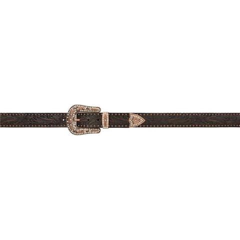 Angel Ranch Western Belt Womens Leather Studs Dark Brown - Dark Brown