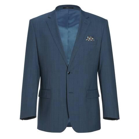 Men's Classic Fit Sport Coat 100% Wool Premium Plaid Blazer
