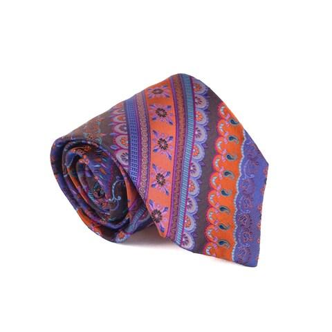 Etro Mens Orange 100% Silk Multiple Classy Print 3.25 In Standard Tie