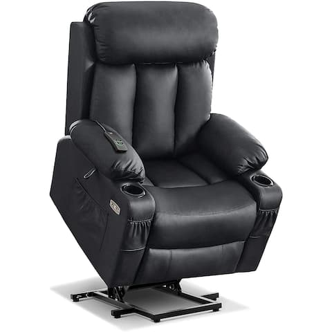 Mcombo Large Electric Power Lift Recliner Chair with Extended Footrest for Big and Tall Elderly People, Faux Leather 7426