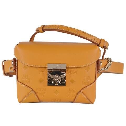 MCM Golden Mango Visetos Convertible Belt Waist Bag W/Crossbody Strap