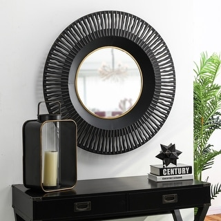 """Link to Glitzhome 35""""D Vintage Industrial Metal Round Wall Mirror Decor Similar Items in Mirrors"""