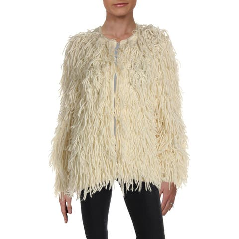 Rag & Bone Womens Cardigan Sweater Wool Shaggy - Ivory - M