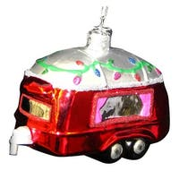 Kurt Adler Noble Gems Red RV Camper  Holiday Glass Ornament