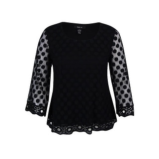 Style & Co. Women's Polka Dot Lace Top - l