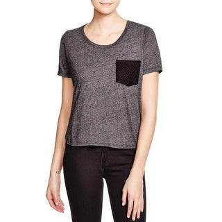 Monrow Womens Casual Top Heathered Front Pointelle Back