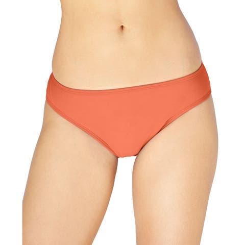 Island Escape Women's Solid Brief Bikini Bottom, Coral (12) - 12