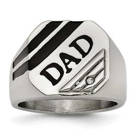 Chisel Stainless Steel Polished Black Enameled CZ Signet Dad Ring (17 mm)
