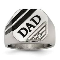 Chisel Stainless Steel Polished Black Enameled CZ Signet Dad Ring (17 mm)