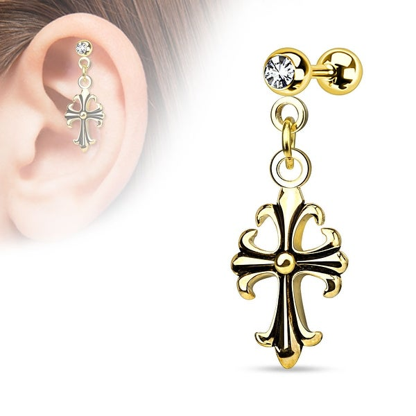 {Gold} Celtic Cross Dangle on Jeweled Ball 316L Surgical Steel Cartilage/Tragus Barbell (Sold Ind.)