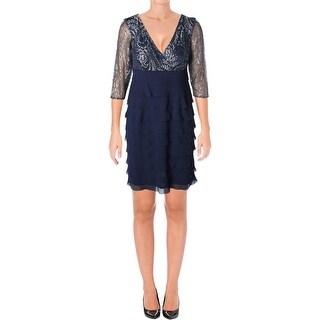 Alex Evenings Womens Petites Cocktail Dress Lace 3/4 Sleeves - 8P