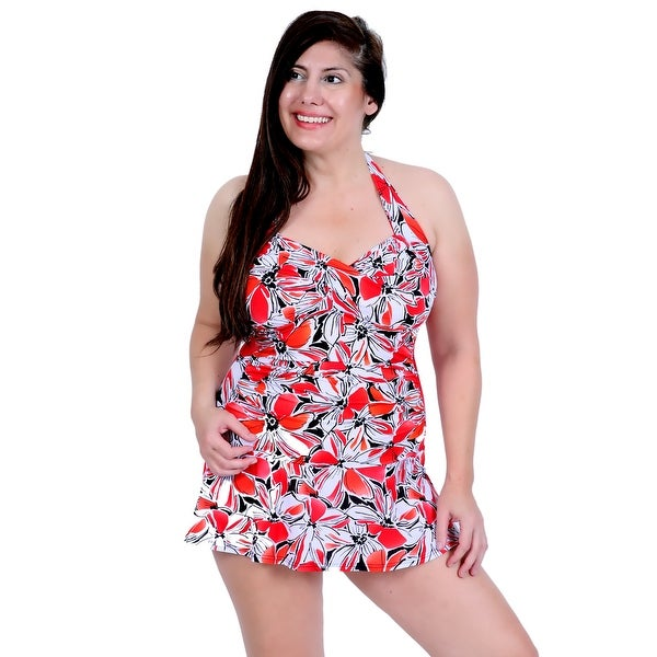 Twist Front Ruched Side Halter Tie Swimdress in Coral Floral Print