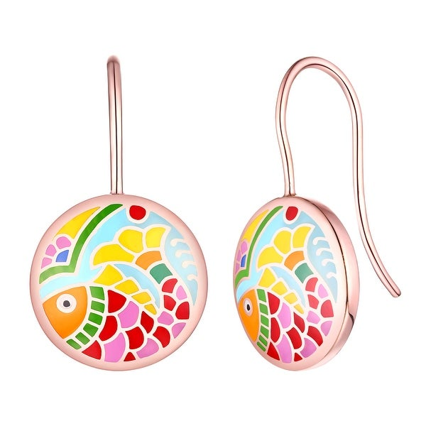 Madhubani Art Fish Multi Color Enamel Drop Dangle Earring By Vedantti