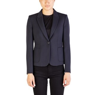 Miu Miu Women's Virgin Wool Buttoned Coat Navy