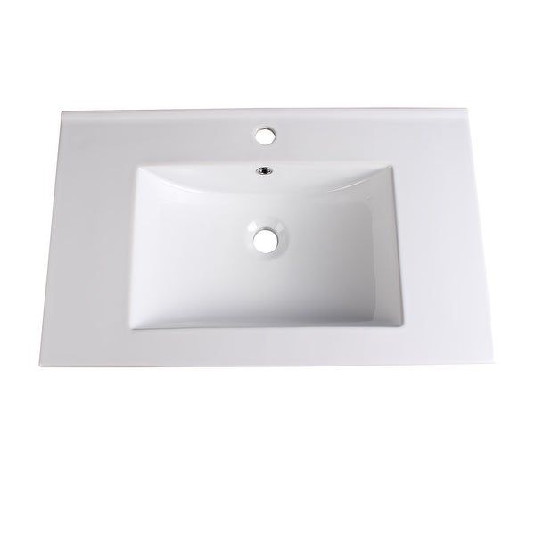 """Fresca FVS6230 Torino 30"""" Ceramic Drop In Vanity Top with an Integrated Sink, Single Faucet Hole and Overflow - White"""